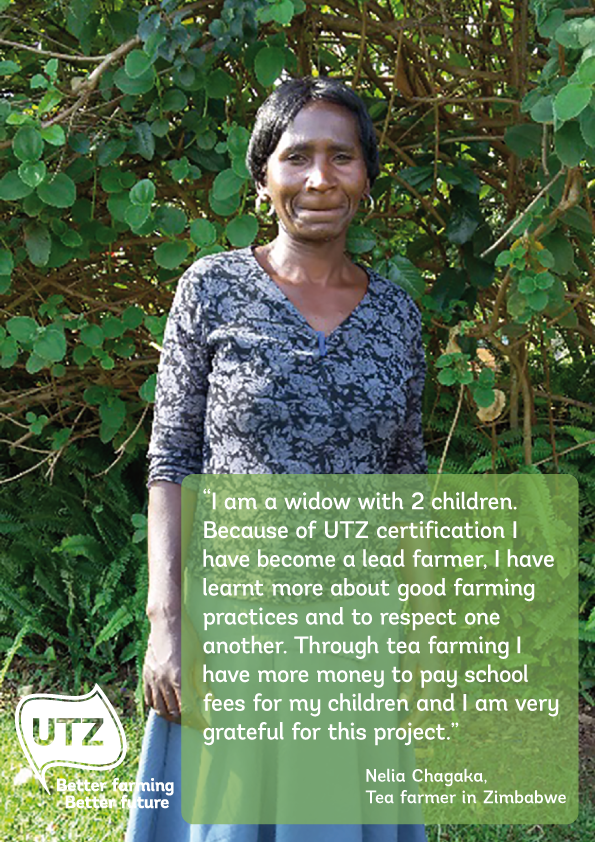 Quote UTZ certified tea farmer Nelia Chagaka from Zimbabwe