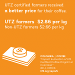 UTZ coffee farmers in Colombia report a better income - 2014 study