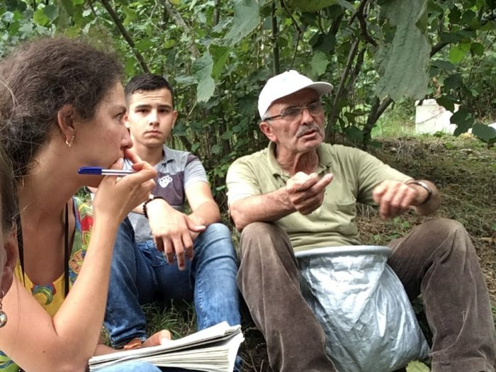 Daria in conversation with hazelnut farmer Sabahattin Ilgun