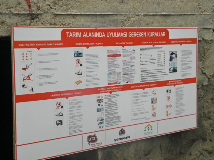 Sign at Senocak hazelnut farm with rules for agricultural practices