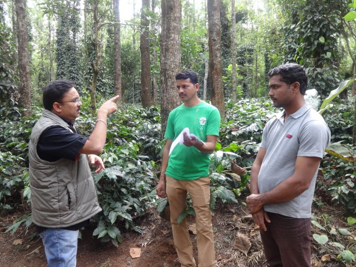 Neelkant Pandhare visting a coffee farm in India